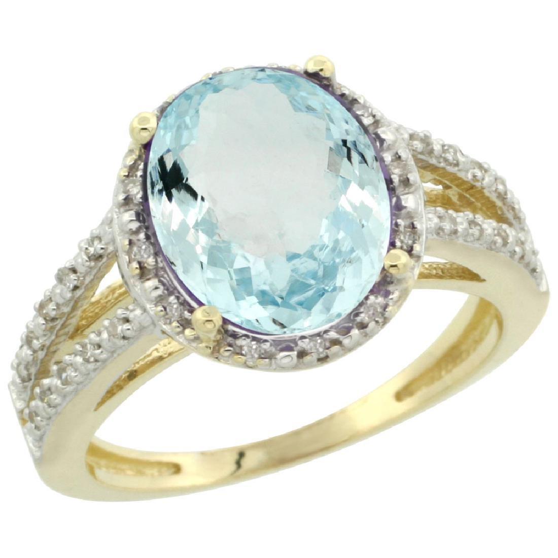 Natural 3.09 ctw Aquamarine & Diamond Engagement Ring