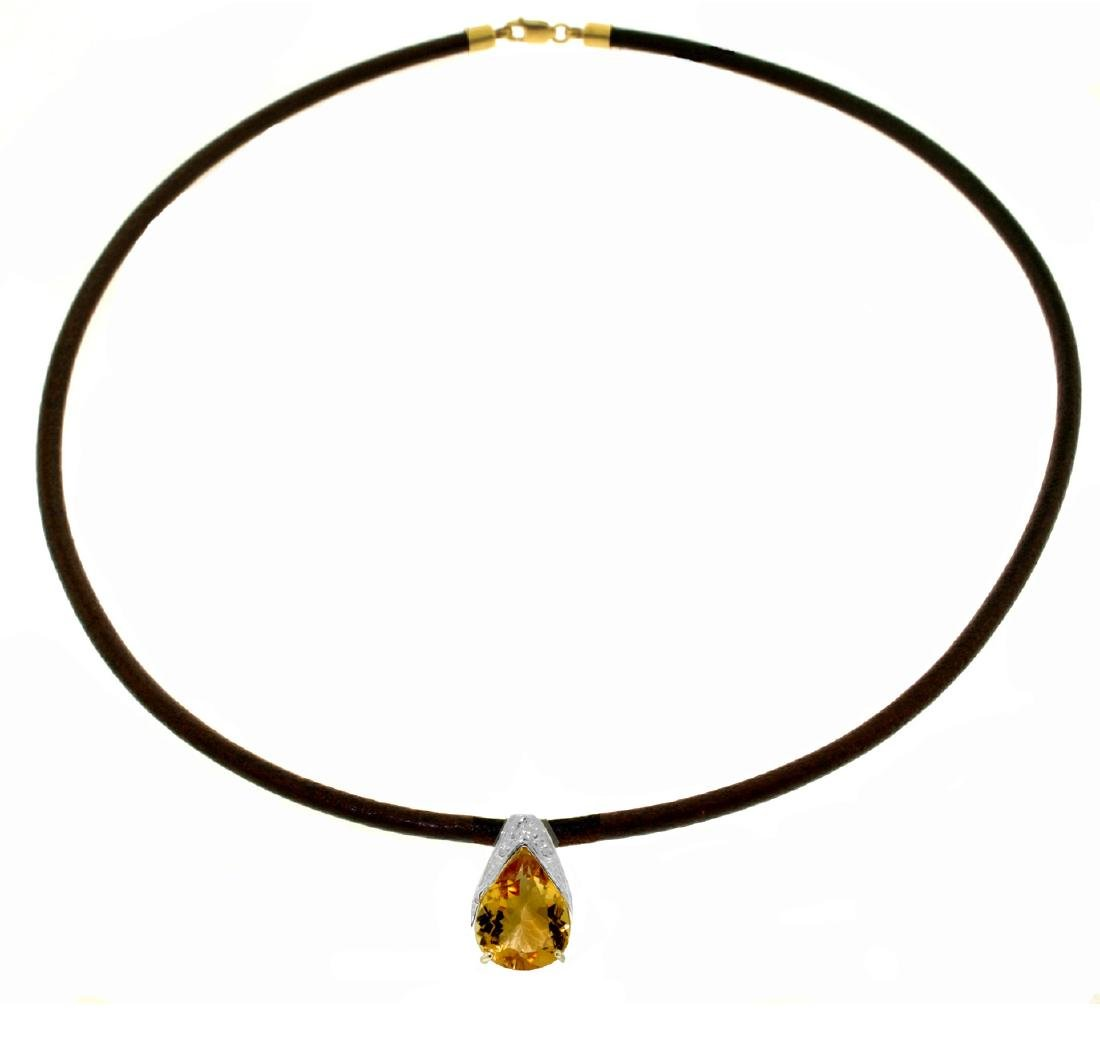 Genuine 6 ctw Citrine Necklace Jewelry 14KT White Gold