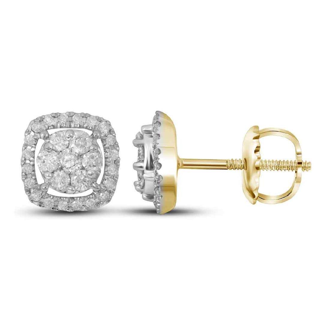0.38 CTW Diamond Cluster Earrings 14KT Yellow Gold -