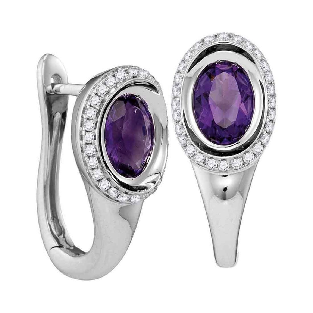 1.49 CTW Oval Natural Amethyst Diamond Hoop Earrings