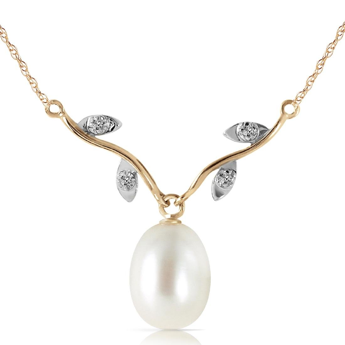 Genuine 4.02 ctw Pearl & Diamond Necklace Jewelry 14KT