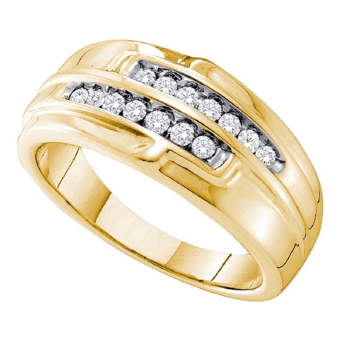 0.32 CTW Mens Diamond Double Row Ring 14KT Yellow Gold