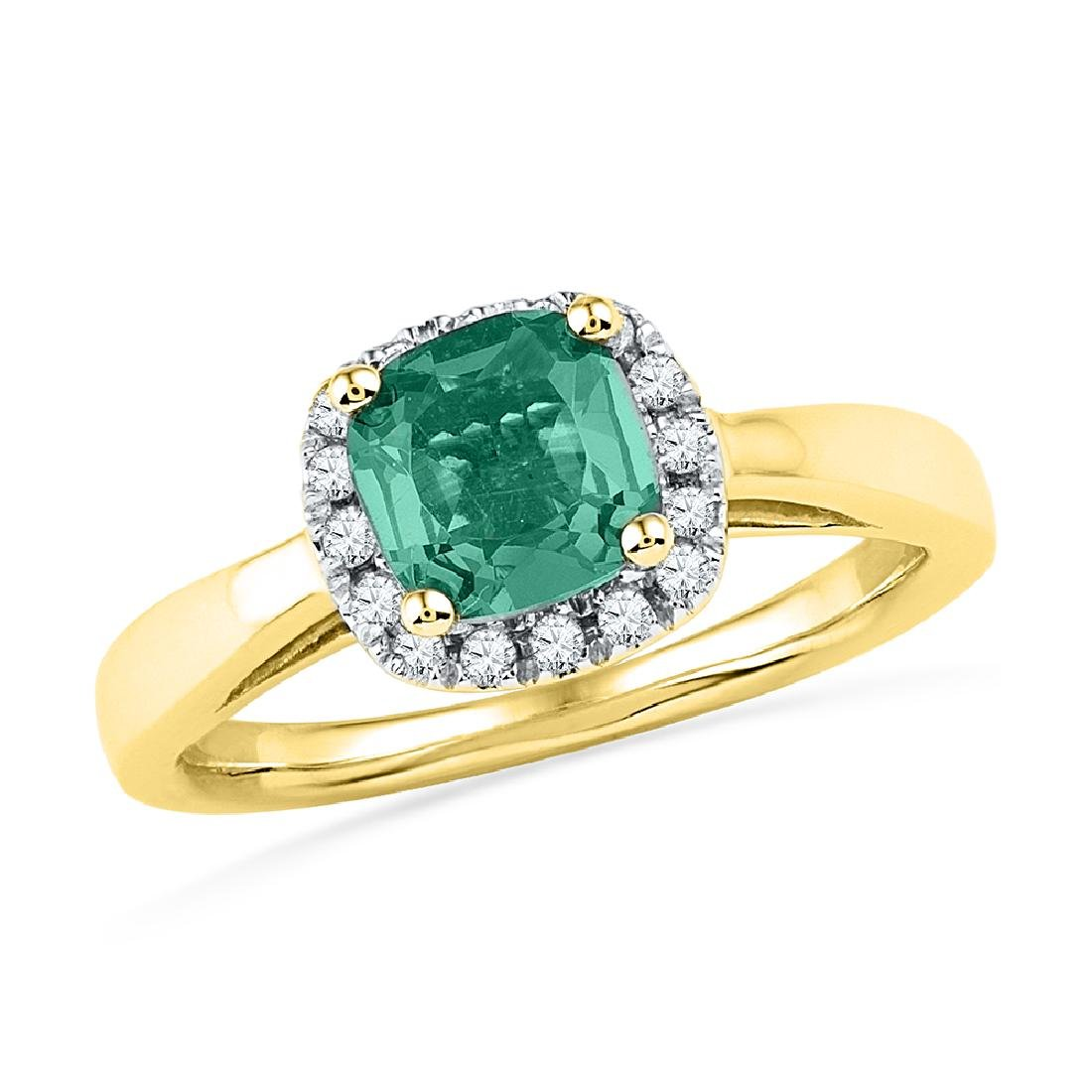 1.51 CTW Emerald Created Emerald Solitaire Ring 10KT
