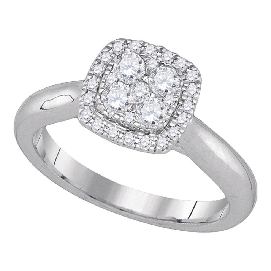 0.48 CTW Diamond Cluster Bridal Engagement Ring 14KT