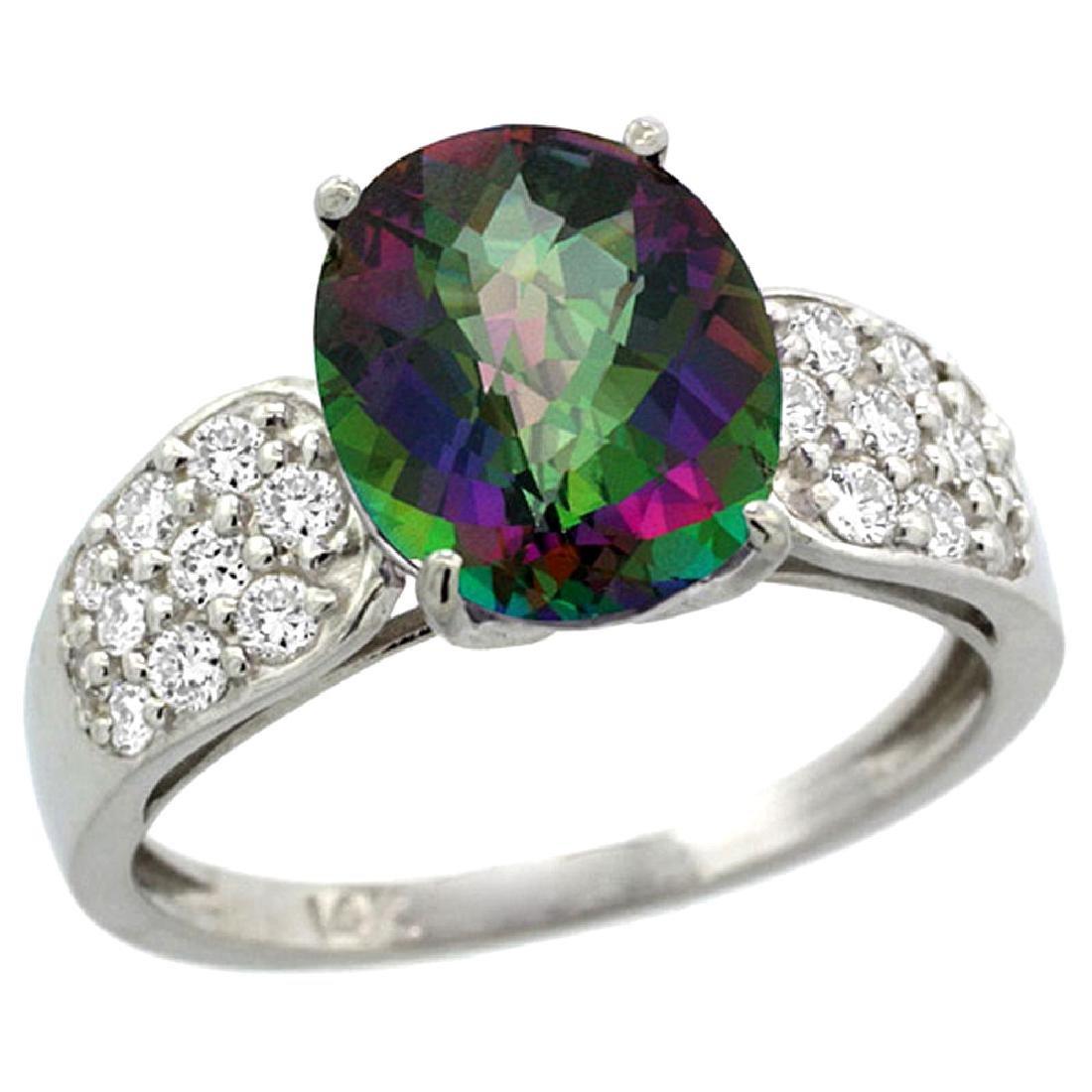 Natural 2.75 ctw mystic-topaz & Diamond Engagement Ring