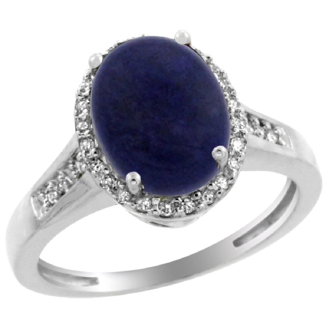 Natural 2.49 ctw Lapis & Diamond Engagement Ring 14K