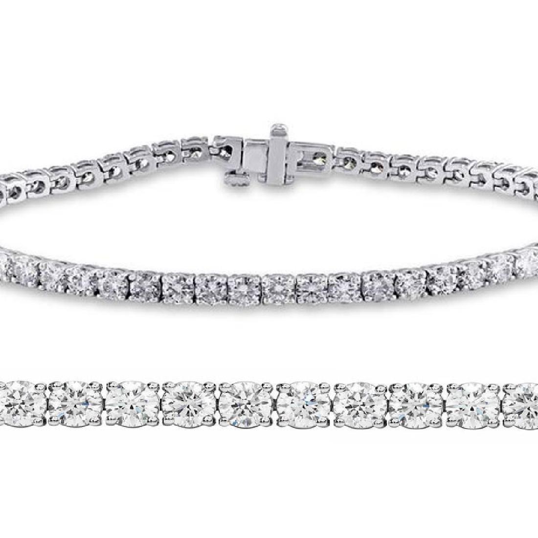 Natural 3.01ct VS-SI Diamond Tennis Bracelet 18K White