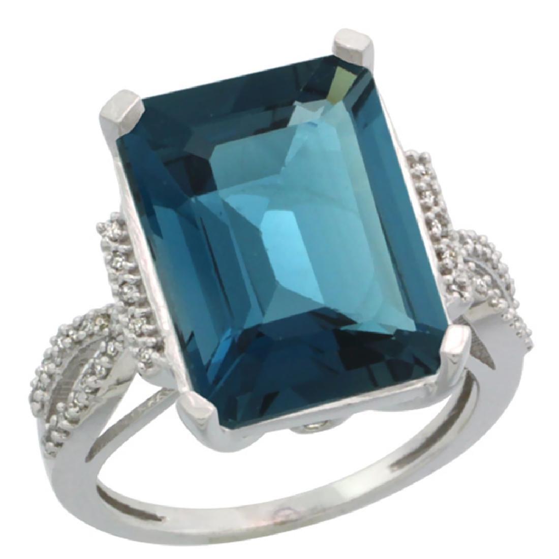 Natural 12.14 ctw London-blue-topaz & Diamond