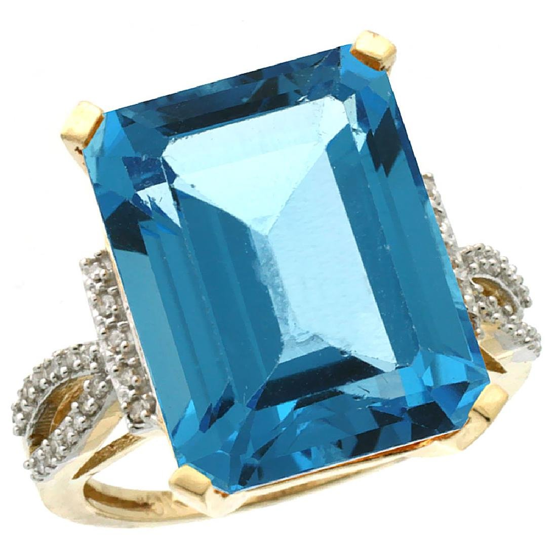 Natural 12.14 ctw Swiss-blue-topaz & Diamond Engagement