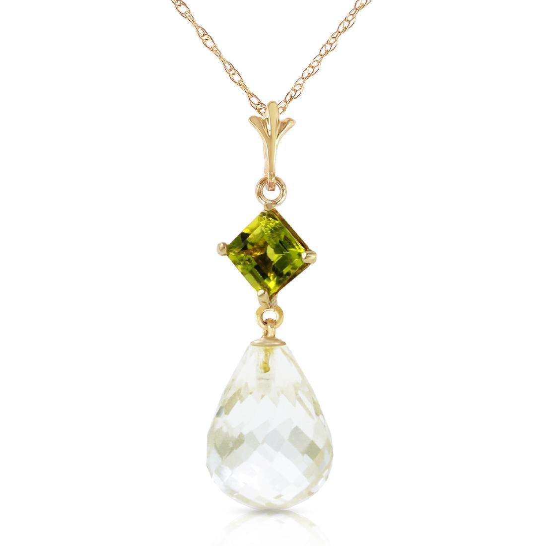 Genuine 5.5 ctw White Topaz & Peridot Necklace Jewelry
