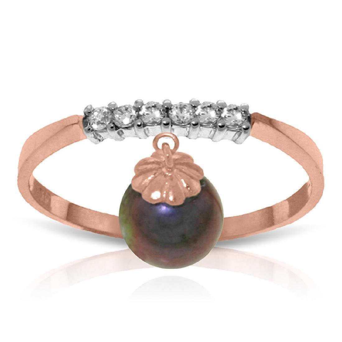 Genuine 2.1 ctw Black Pearl & Diamond Ring Jewelry 14KT