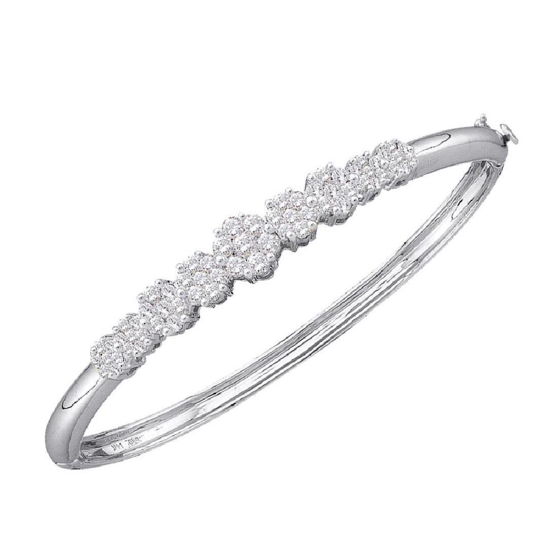 2 CTW Diamond Bangle Bracelet 14KT White Gold -