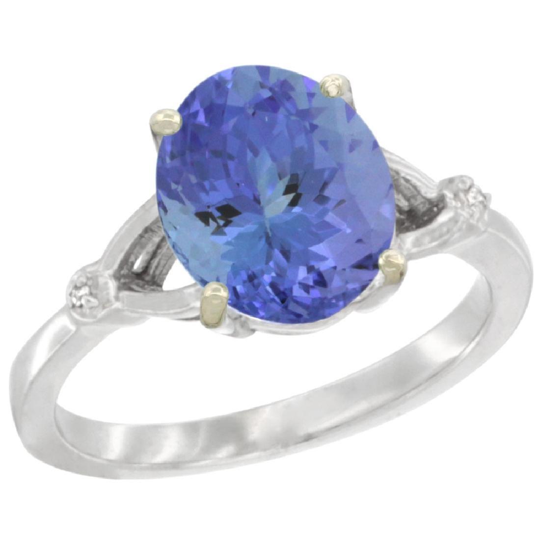Natural 2.4 ctw Tanzanite & Diamond Engagement Ring 14K
