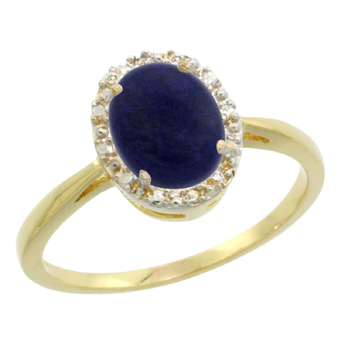 Natural 1.05 ctw Lapis & Diamond Engagement Ring 14K