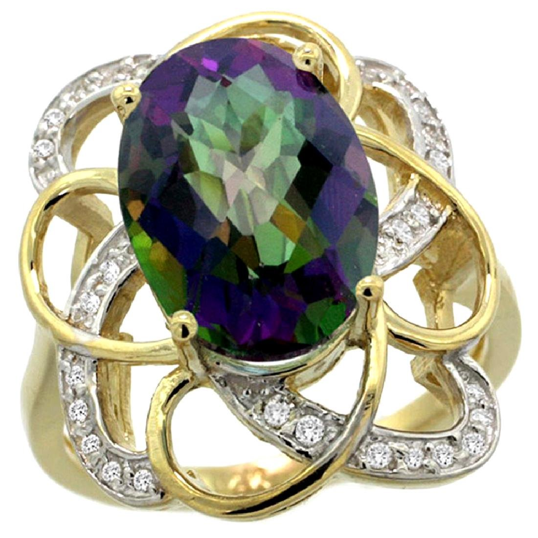 Natural 5.59 ctw mystic-topaz & Diamond Engagement Ring