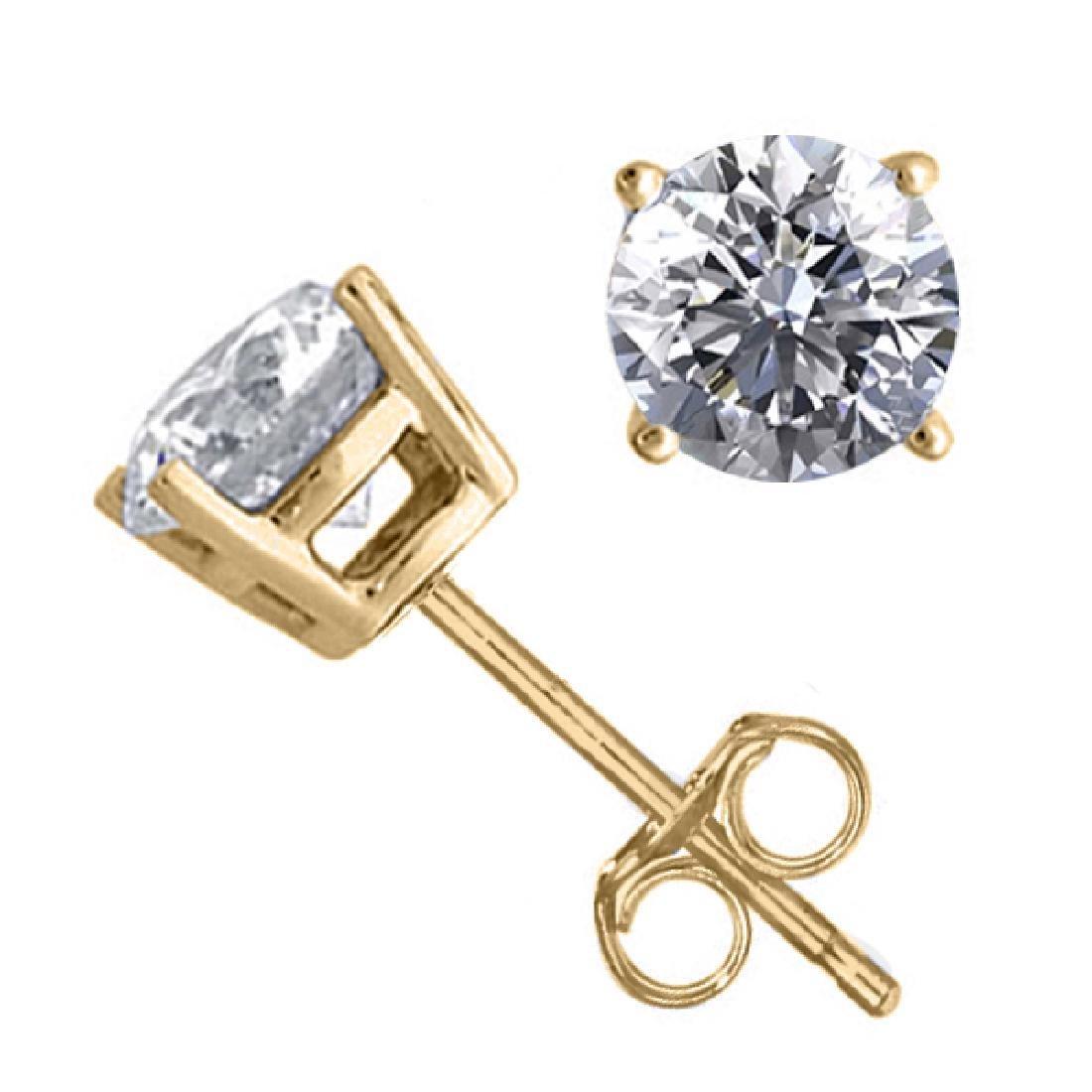 14K Yellow Gold Jewelry 1.56 ctw Natural Diamond Stud