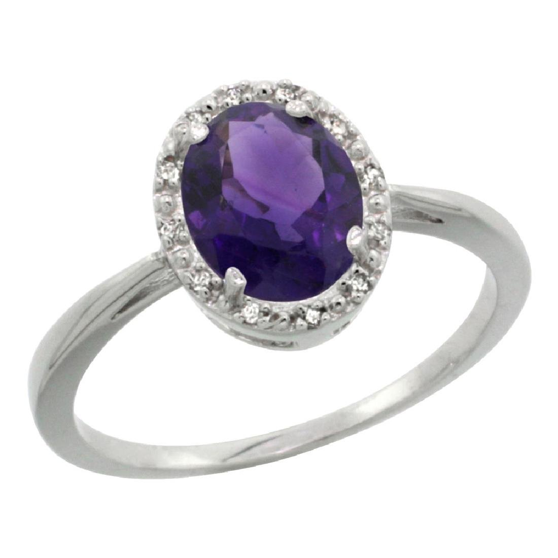 Natural 1.22 ctw Amethyst & Diamond Engagement Ring 10K