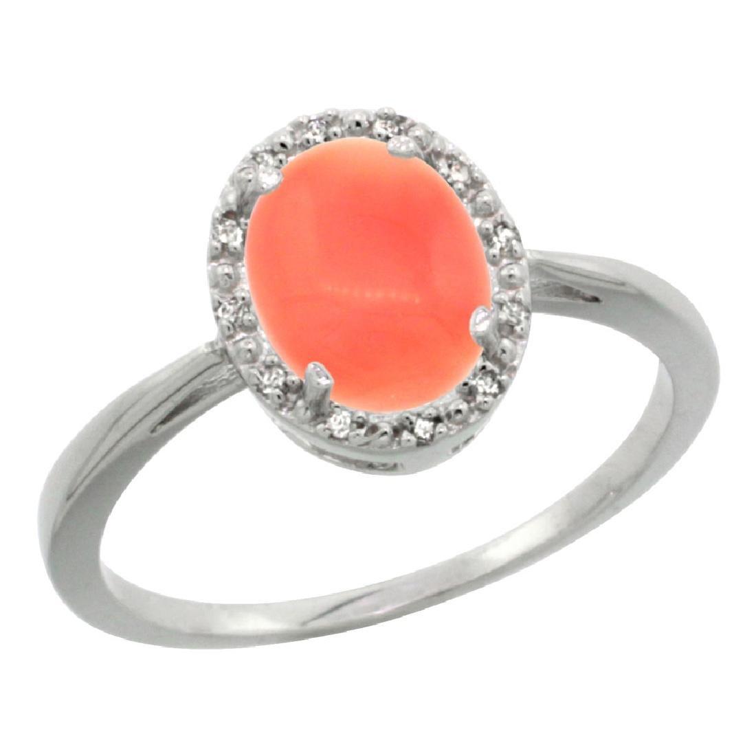 Natural 1.17 ctw Coral & Diamond Engagement Ring 14K