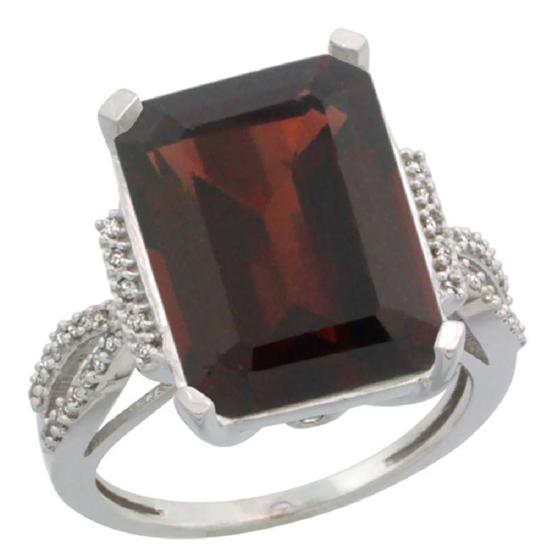 Natural 12.14 ctw Garnet & Diamond Engagement Ring 10K