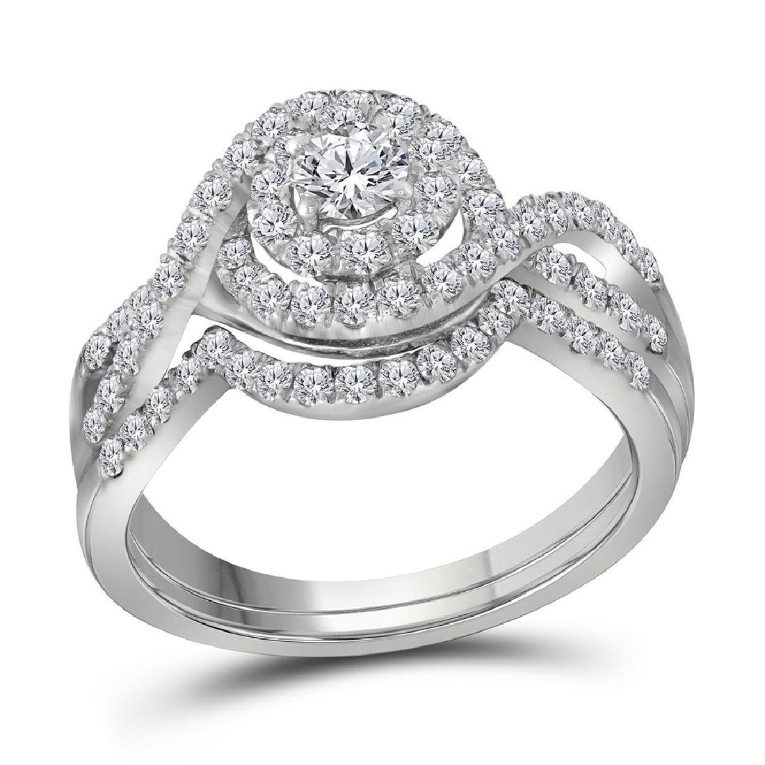 1 CTW Diamond Swirl Halo Bridal Engagement Ring 14KT