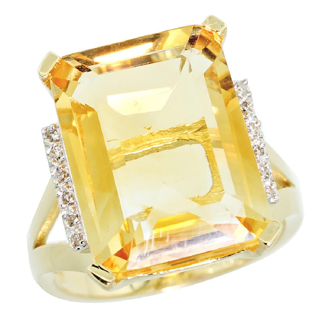 Natural 12.13 ctw Citrine & Diamond Engagement Ring 10K