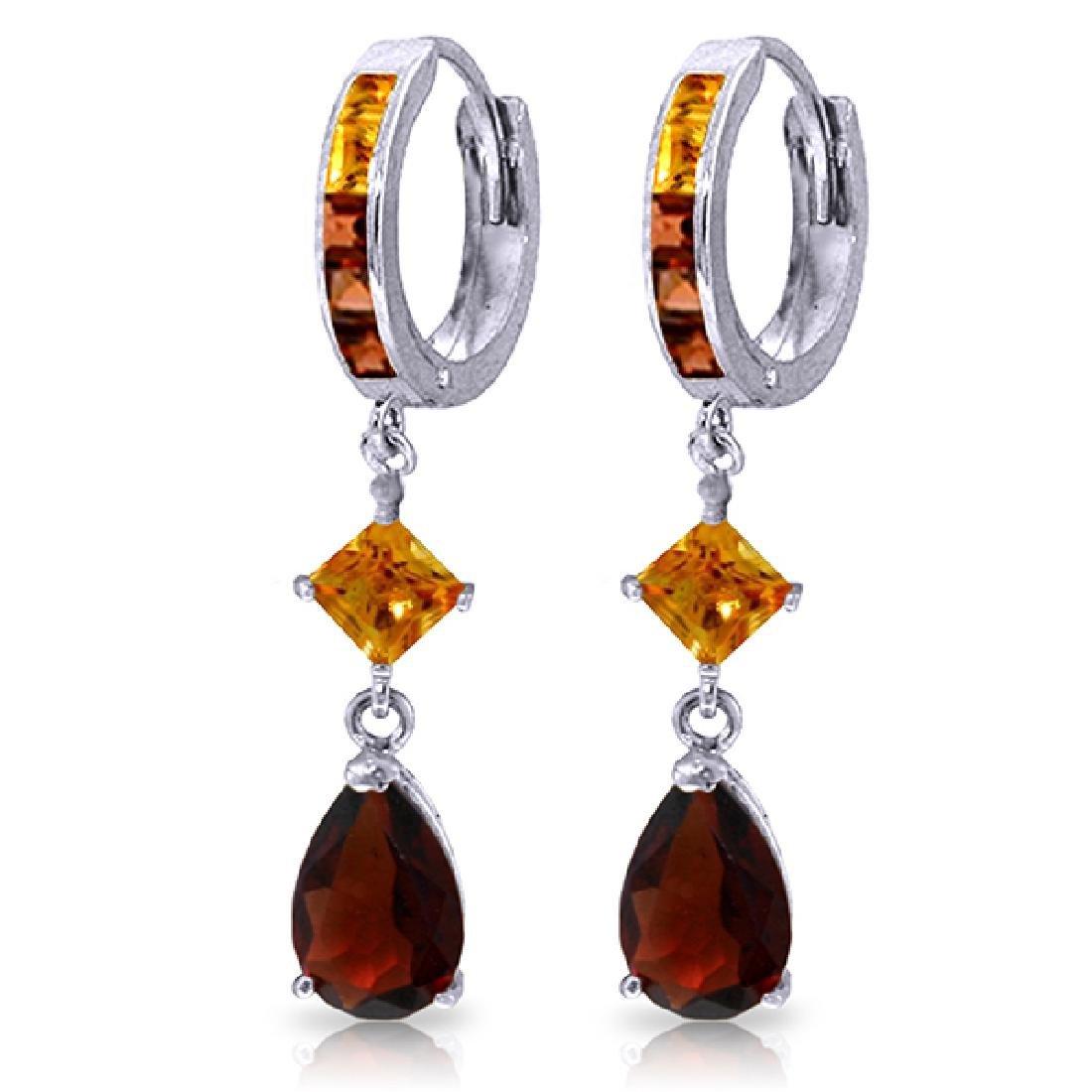 Genuine 5.15 ctw Garnet & Citrine Earrings Jewelry 14KT