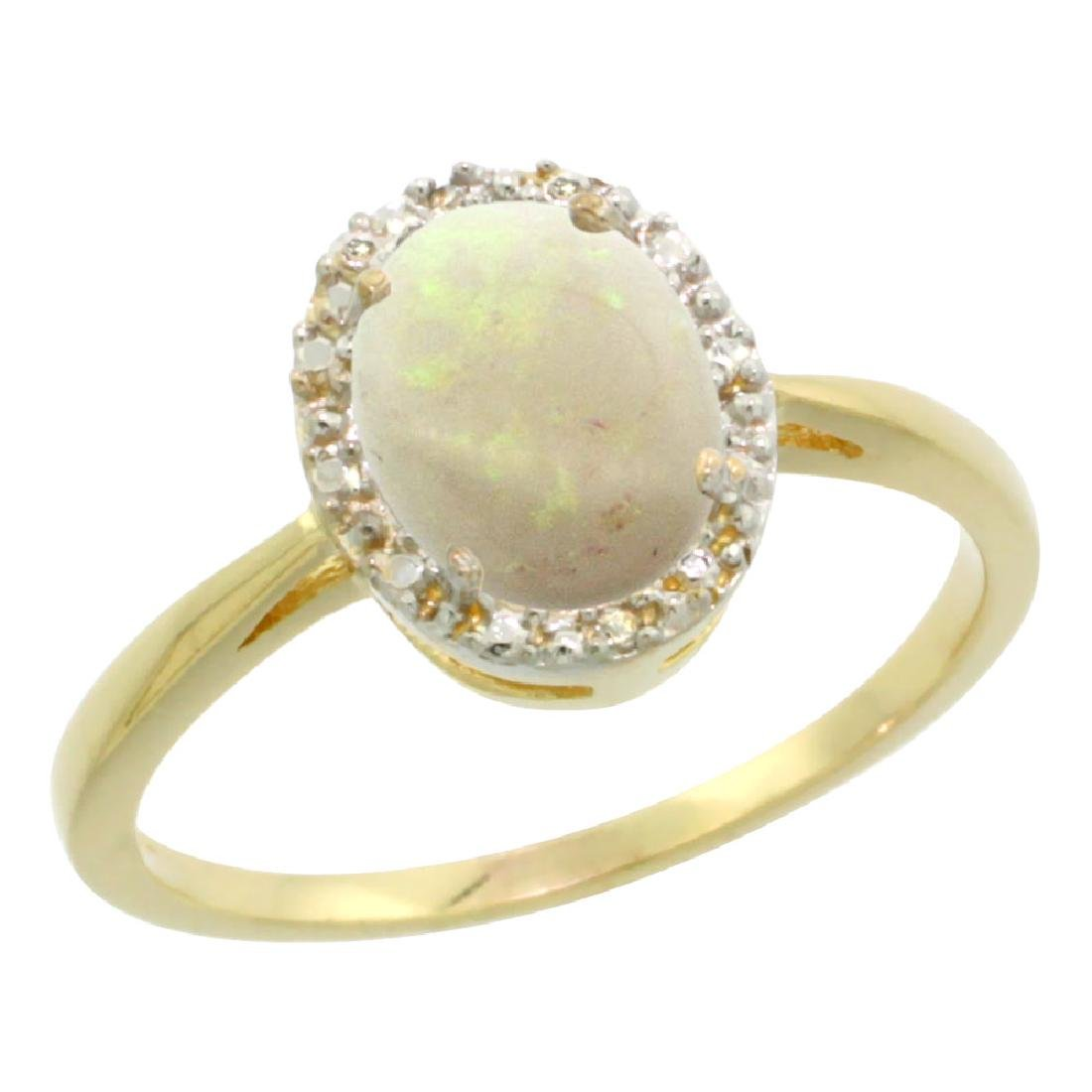 Natural 0.75 ctw Opal & Diamond Engagement Ring 10K