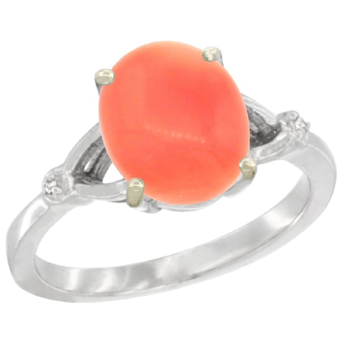 Natural 2.01 ctw Coral & Diamond Engagement Ring 14K