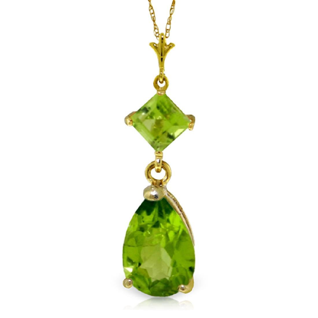 Genuine 2 ctw Peridot Necklace Jewelry 14KT Yellow Gold