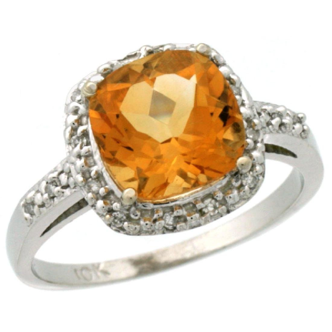 Natural 3.92 ctw Citrine & Diamond Engagement Ring 10K