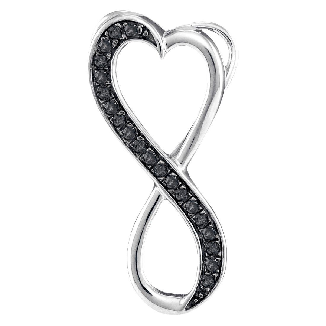 0.10 CTW Black Color Diamond Vertical Infinity Heart