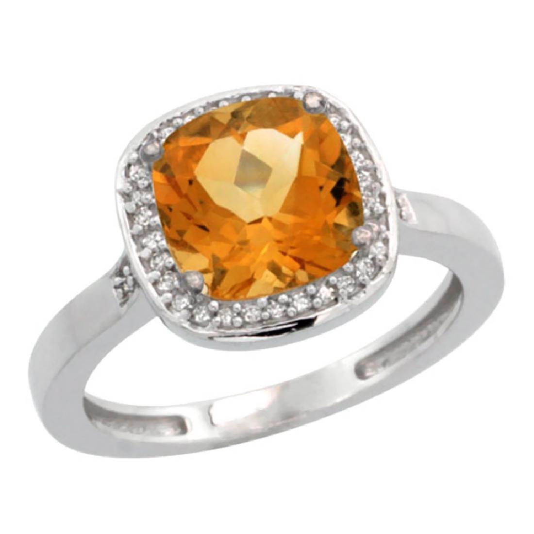 Natural 3.94 ctw Citrine & Diamond Engagement Ring 10K