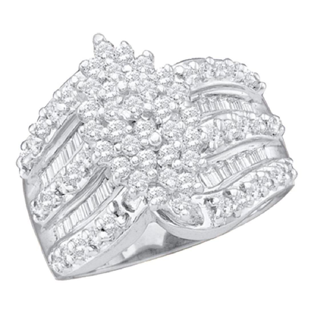 1.02 CTW Diamond Oval-shape Cluster Ring 10KT White