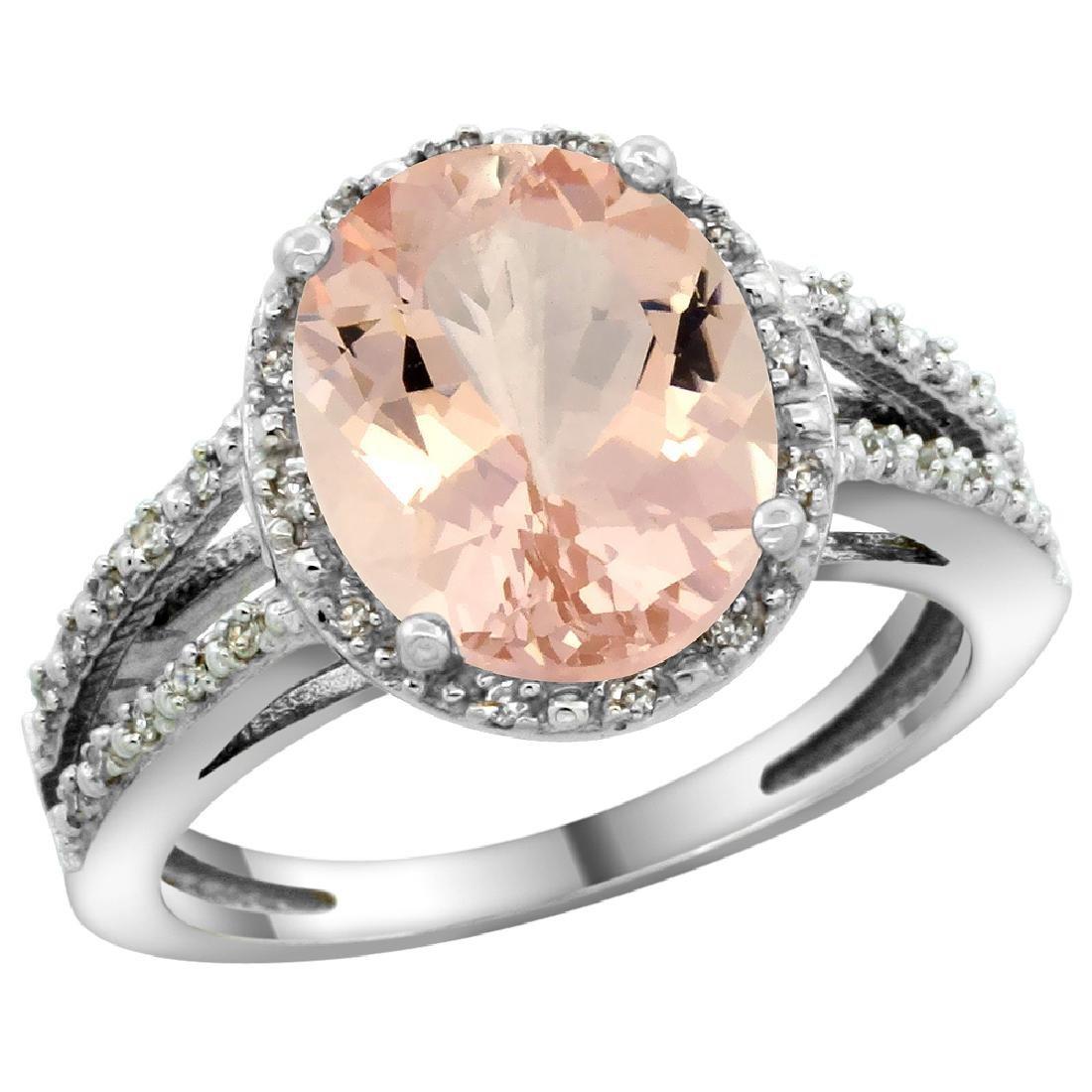 Natural 3.09 ctw Morganite & Diamond Engagement Ring
