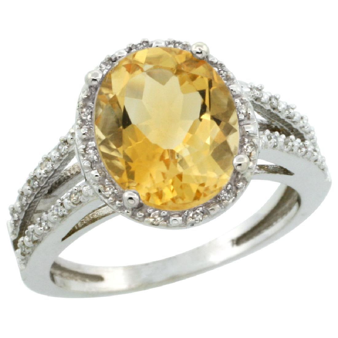 Natural 3.47 ctw Citrine & Diamond Engagement Ring 14K