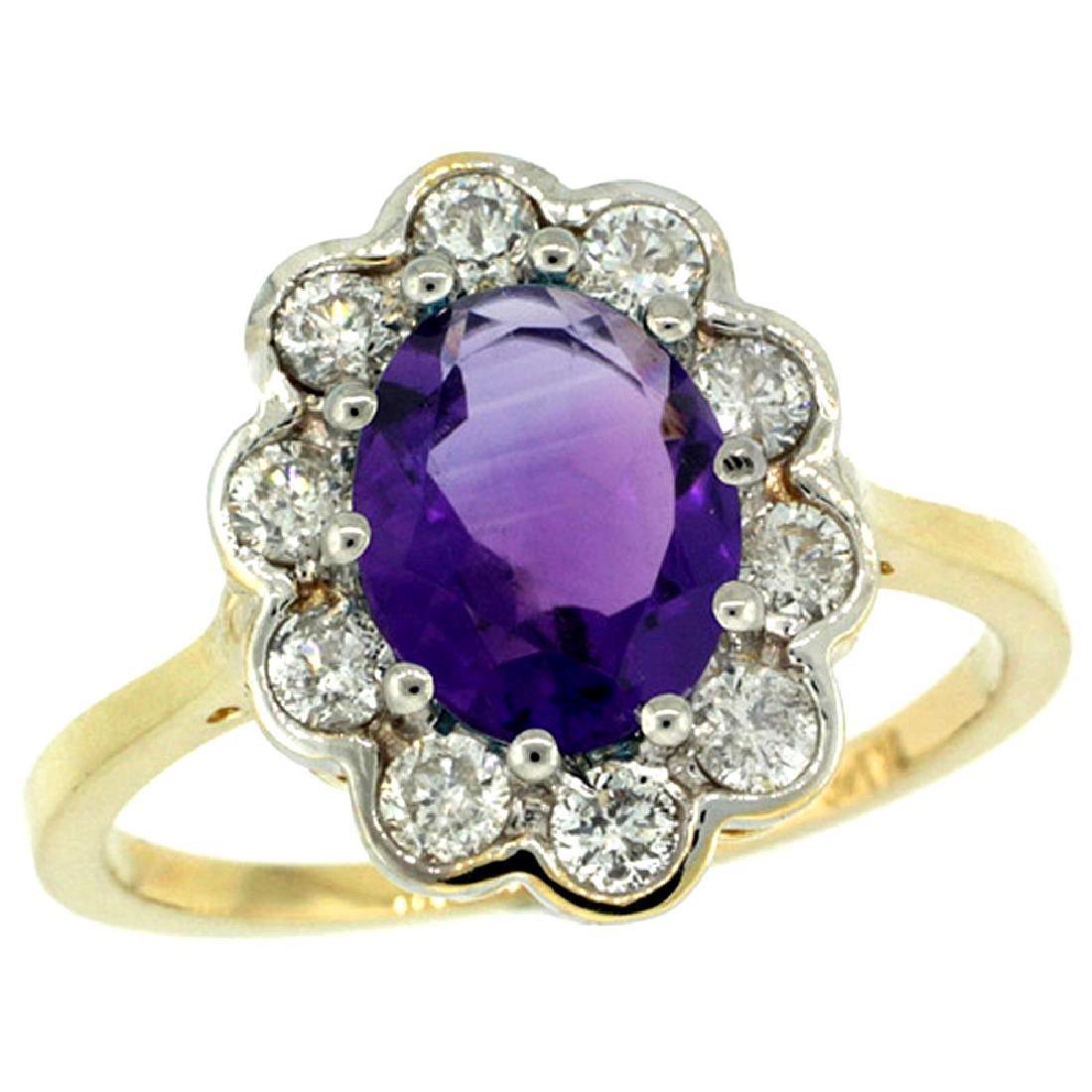Natural 2.34 ctw Amethyst & Diamond Engagement Ring 14K