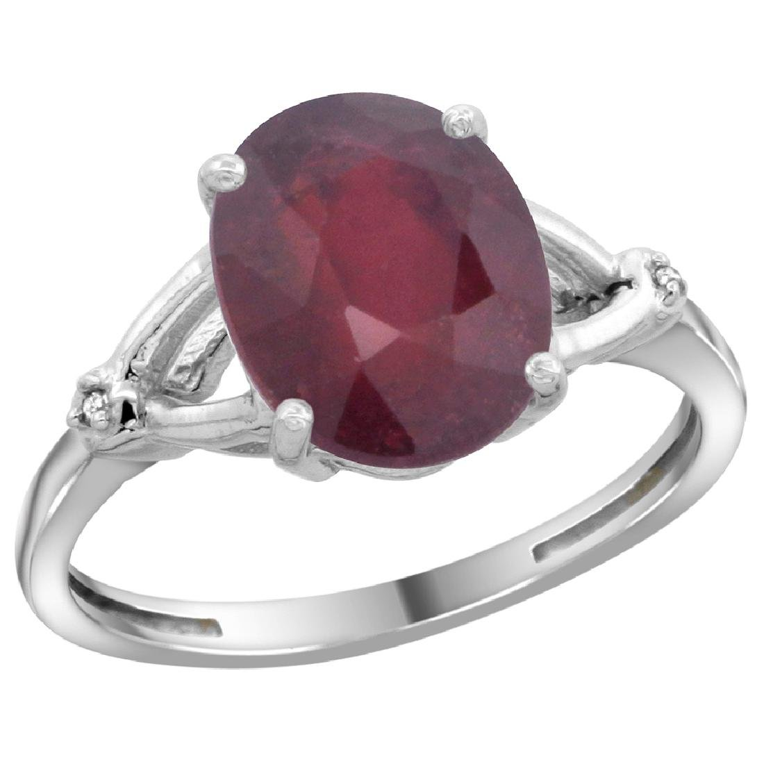 Natural 3.65 ctw Ruby & Diamond Engagement Ring 10K
