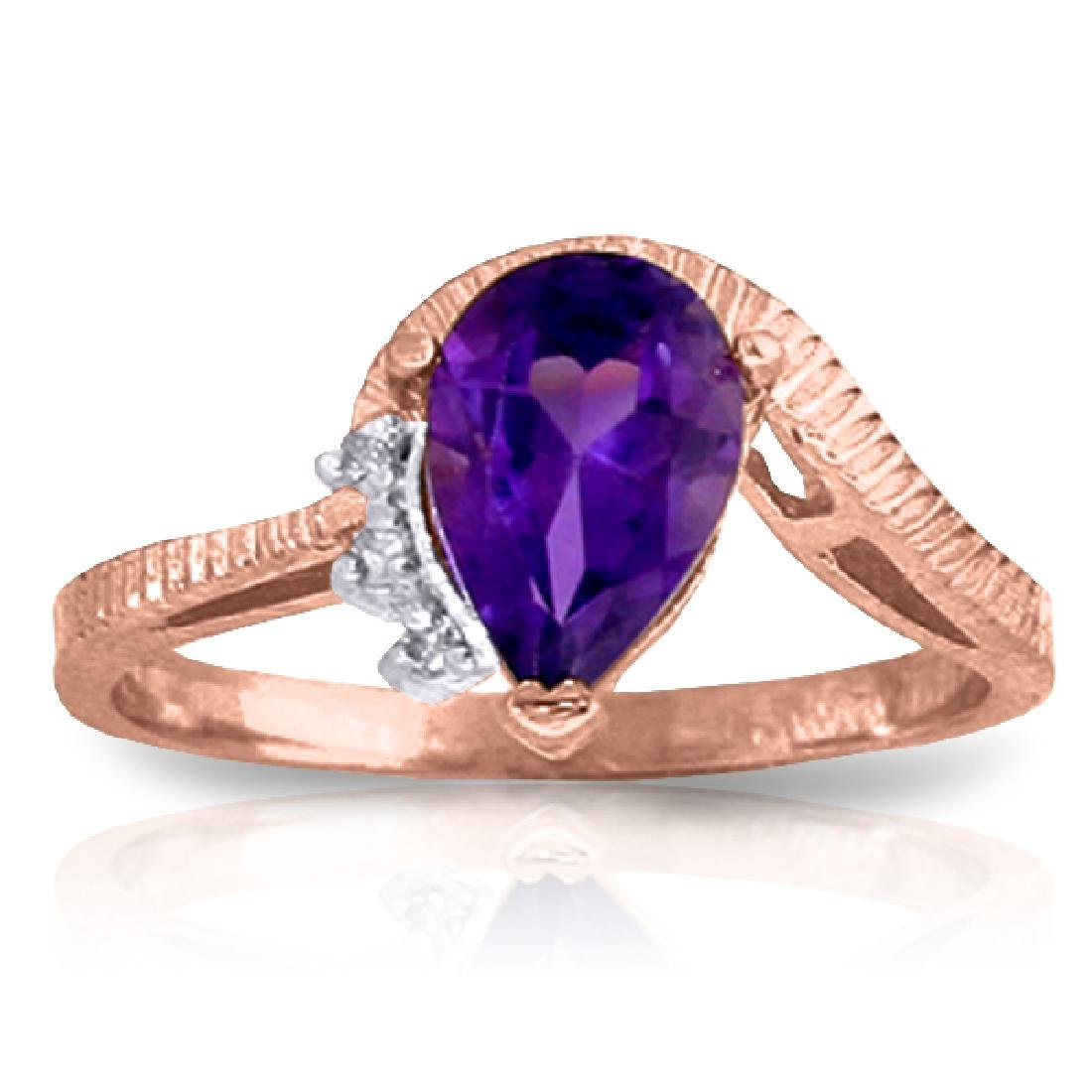 Genuine 1.52 ctw Amethyst & Diamond Ring Jewelry 14KT