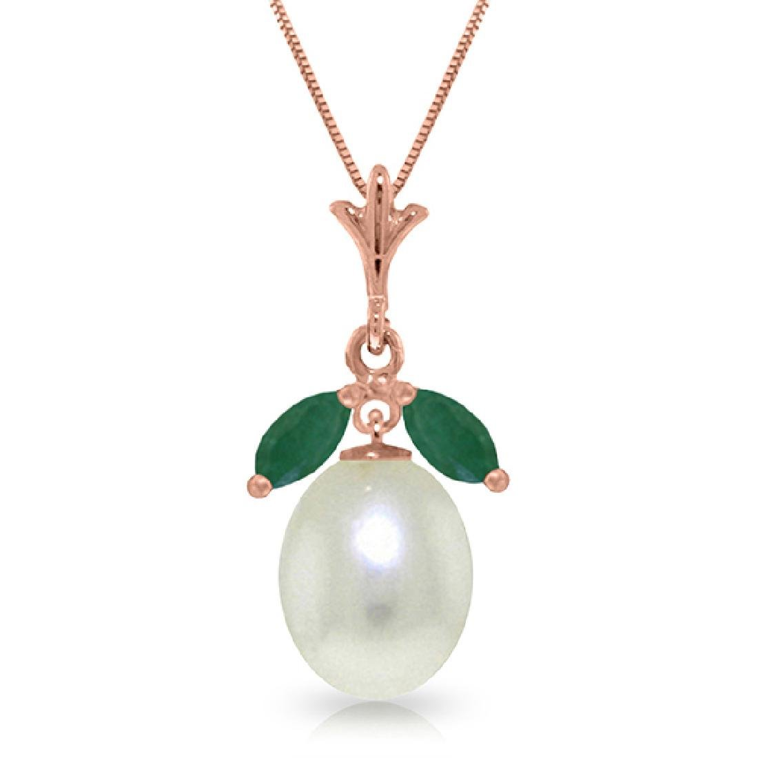 Genuine 4.5 ctw Pearl & Emerald Necklace Jewelry 14KT