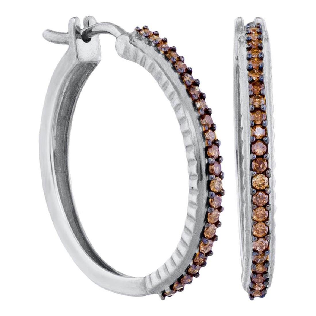 0.50 CTWCognac-brown Color Diamond Single Row Hoop