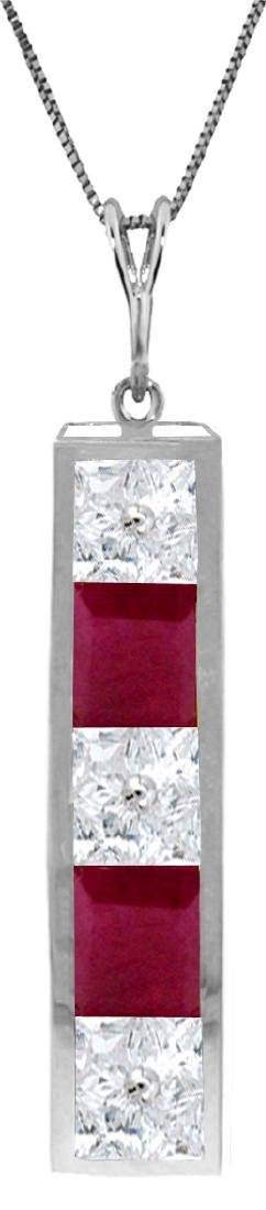 Genuine 2.35 ctw White Topaz & Ruby Necklace Jewelry