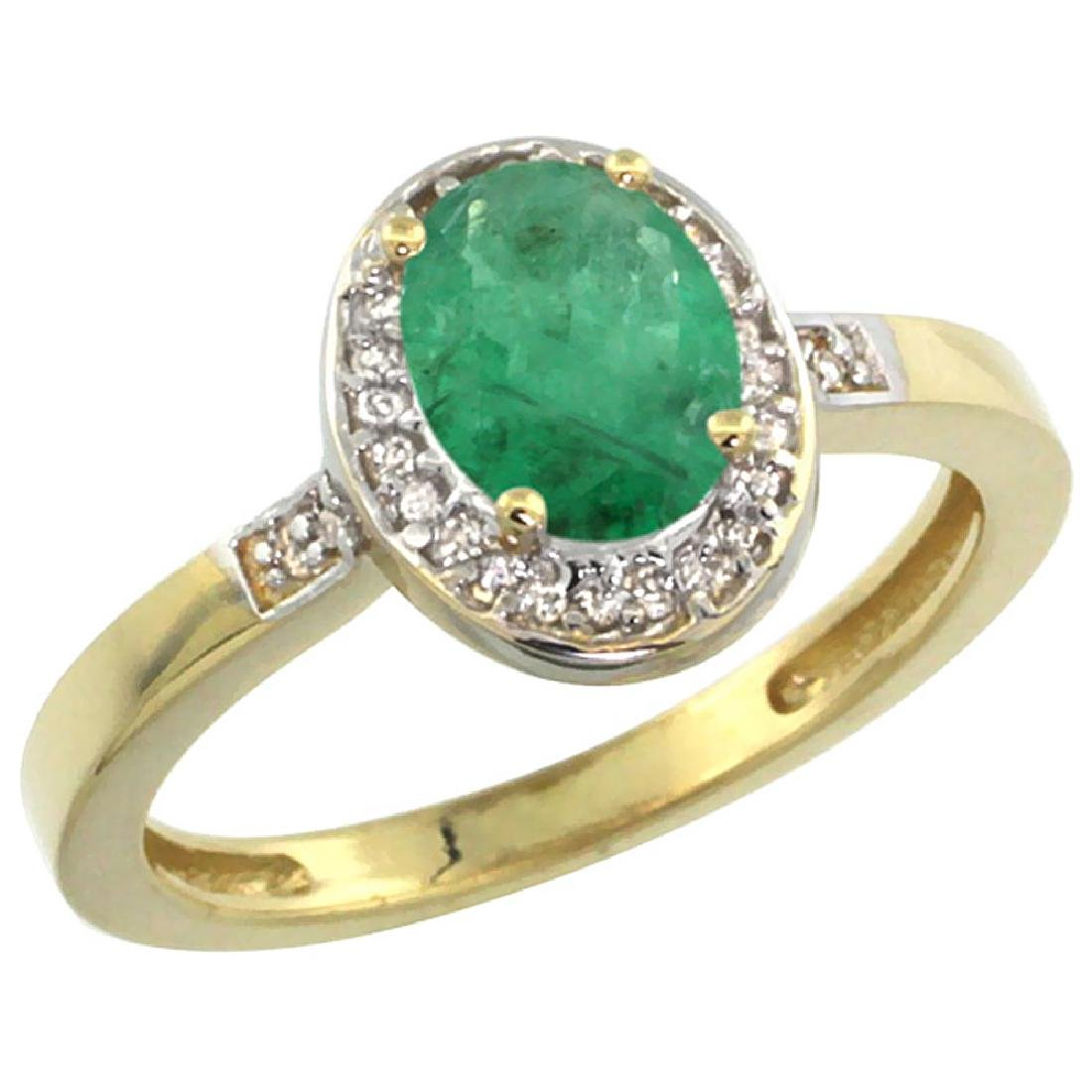 Natural 1.08 ctw Emerald & Diamond Engagement Ring 10K