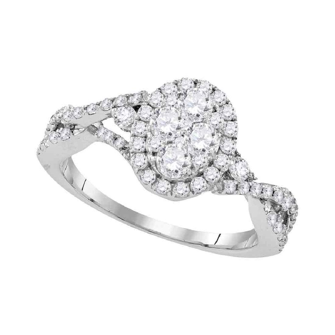 1.13 CTW Diamond Oval Cluster Halo Bridal Engagement