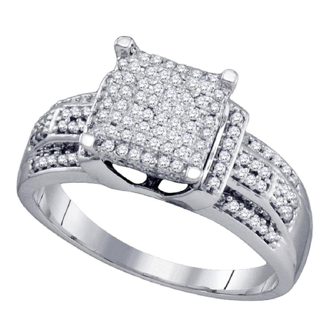 0.40 CTW Diamond Square Cluster Bridal Engagement Ring