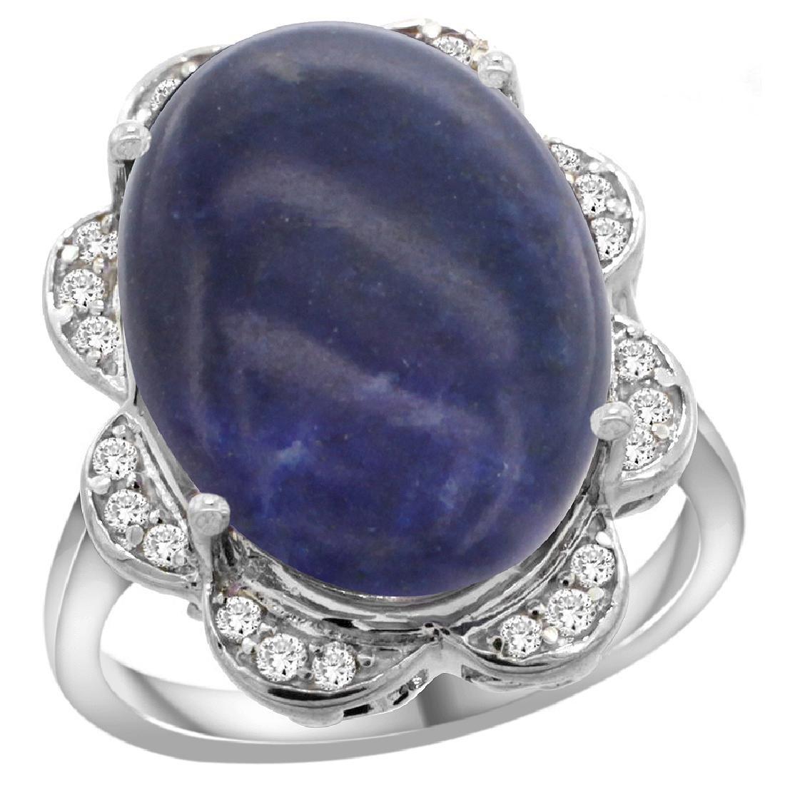 Natural 9.73 ctw lapis-lazuli & Diamond Engagement Ring