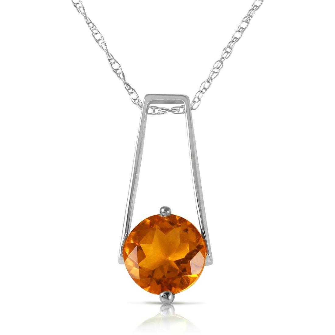 Genuine 1.45 ctw Citrine Necklace Jewelry 14KT White