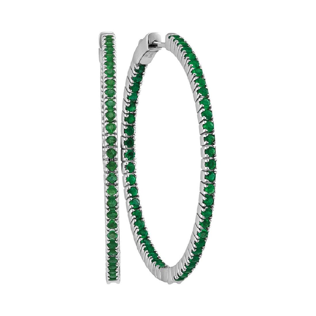 3 CTW Emerald Large Slender In/Out Hoop Earrings 14KT