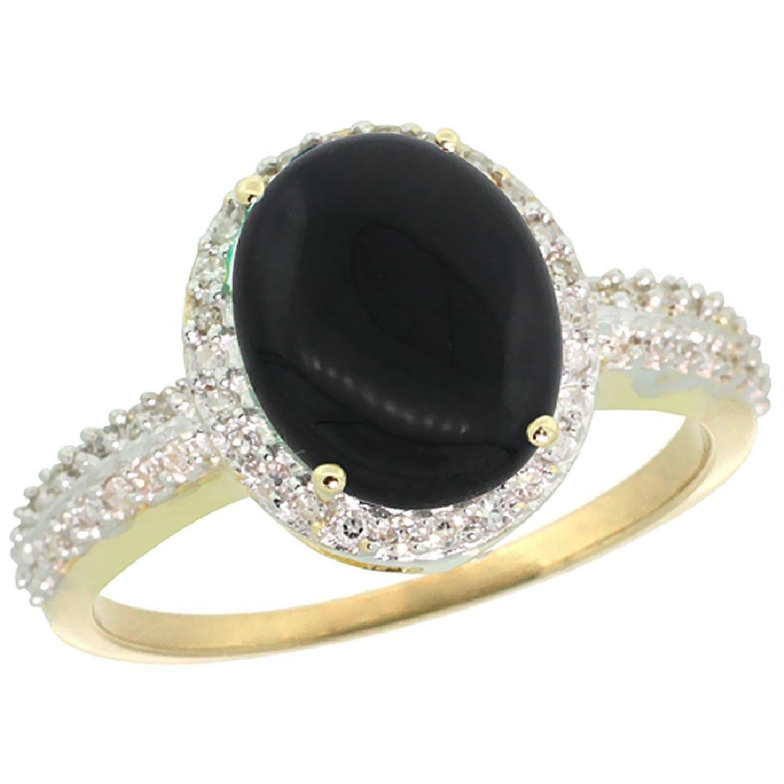 Natural 2.56 ctw Onyx & Diamond Engagement Ring 10K