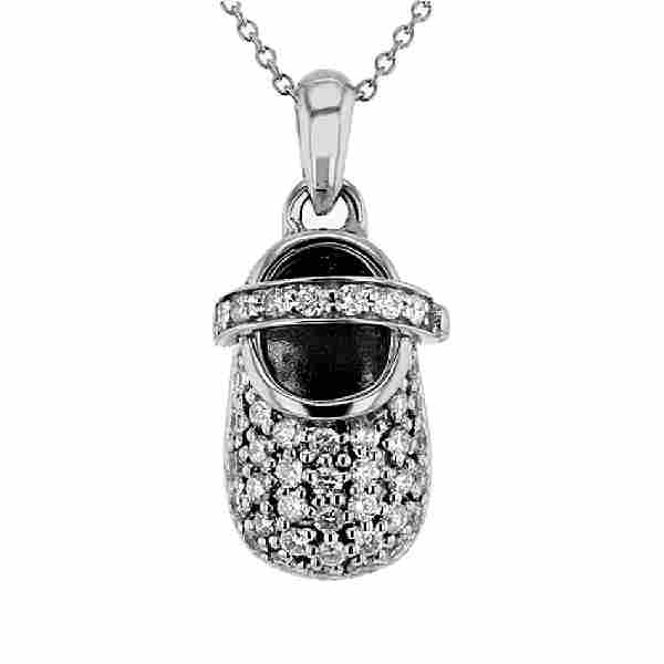075 CTW Diamond Slider Necklace 14K White Gold
