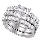 4 CTW Princess Diamond 3Piece Bridal Engagement Ring